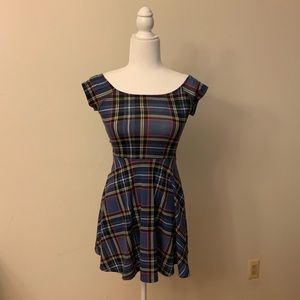 Red, Yellow and Blue Plaid Mini Dress